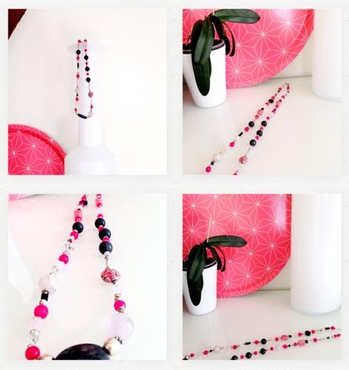 Collier noir et rose en pierres naturelles